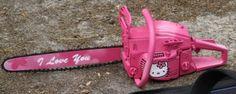 Hello Kitty hot pink 'I love you' chainsaw Chat Hello Kitty, Hello Kitty Items, Hello Kitty Tumblr, Lollipop Chainsaw, Pretty Knives, Pastel Punk, Armas Ninja, Guns N Roses, Creepy Cute