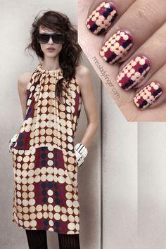 fashion, nails matching outfits, nailart, marni, nail arts, finger nails, manicur muse, dress designs, dot