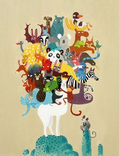 Lama and animals print animals of the world A4 di SurfingSloth