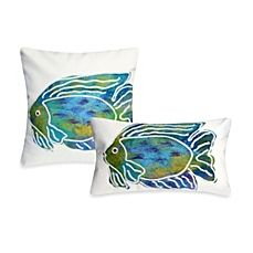 image of Liora Manne Outdoor Throw Pillow Collection in Batik Fish Aqua Lumbar Throw Pillow, Toss Pillows, Throw Pillow Sets, Outdoor Throw Pillows, Coastal Homes, Coastal Living, Coastal Decor, Turquoise Cushions, Coastal Bedding