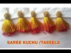 New Double Colour Saree Kuchu /Tassels Making Saree Tassels Designs, Saree Kuchu Designs, Saree Blouse Neck Designs, New Blouse Designs, Kurti Neck Designs, Sugar Beads, Embroidery Hearts, Embroidery Kits, Saree Border