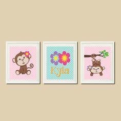 Baby Girl Nursery Monkey Pink Purple Aqua by LovelyFaceDesigns,