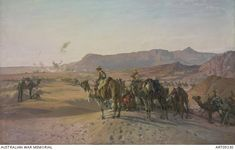 Camel Corps at Magdhaba - H Septimus Power, 1925. Depicts the Camel Corp 'Cameliers' at the point where they were dismounting to advance on foot at Magdhaba. The Imperial Camel Corps Brigade was raised from the Australian, New Zealand and British Armies; of its four Battalions, two and a half were Australian. On 23 December 1916, the Brigade took part in the attack on a strong Turkish post at Magdhaba in Sinai.