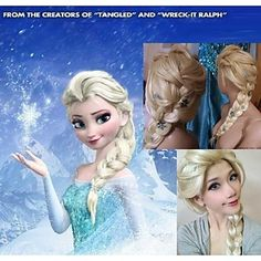 Amazing lovely Frozen wig for you to do Frozen character Halloween outfits ideas.