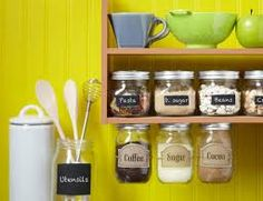 Screw jar lids under cabinet and turn jar off/on...space saver in kitchen/craft areas