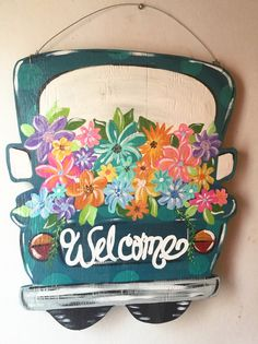 I painted this Spring truck door hanger with many colors and flowers Painted Fences, Painted Boards, Wooden Crafts, Diy Crafts, Truck Crafts, Christmas Red Truck, Wooden Truck, Burlap Door Hangers, Spring Door