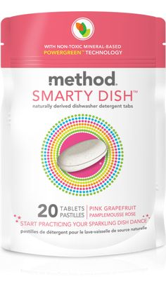 method smarty dish dishwasher tabs clean without phosphates or bleach. non-toxic, mineral-based, naturally derived tabs in pink grapefruit.