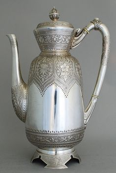 Persian Silver Pot for Tea Serving