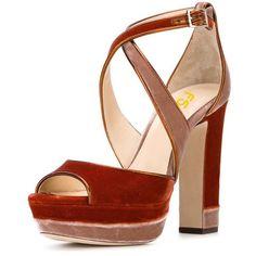 FSJ Women Velvet Peep Toe Cross Strap Sandals Chunky Heel Comfy... (135 RON) ❤ liked on Polyvore featuring shoes, sandals, platform sandals, wide sandals, wide fit heeled sandals, chunky-heel sandals and platform shoes