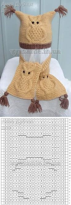 Baby Knitting Patterns Scarf Set 'Owls' (hat and scarf) Lace Knitting Patterns, Knitting Stiches, Knitting Blogs, Baby Hats Knitting, Crochet Baby Hats, Knitting For Kids, Knitting Projects, Cardigan Bebe, Knitted Owl