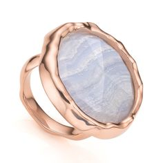 Rose Gold Vermeil Siren Cocktail Round Ring - Blue Lace Agate - Monica Vinader