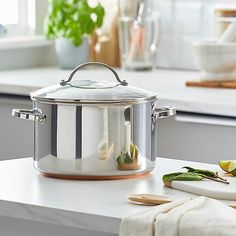 Infinity 6.2 Litre Copper Base Stock Pot   Dunelm Stainless Steel Pot, Kitchen Dining, Dining Room, Decorative Items, Crock, Infinity, Copper, Base, Products