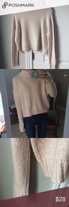 SALE NWOT fuzzy turtle neck sweater. NWOT. Fuzzy (seriously sooo soft) blush/light pink sweater. Turtle neck. Never worn (just for the picture). American Eagle Outfitters Sweaters