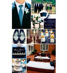 Decoração do casamento azul e preto