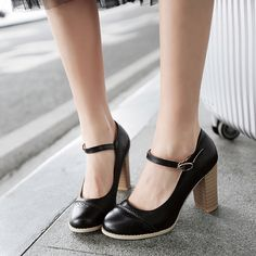 Ankle Straps Women Pumps Platform High Heels Dress Shoes