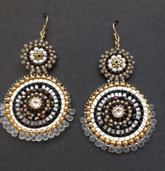 Gorgeous double hoop beadwork mandala metallic black and white  dangle earrings on Etsy, $84.99 AUD