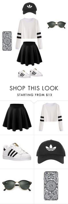 """cute school day"" by niyahgipson ❤ liked on Polyvore featuring LE3NO, adidas, Topshop and Ray-Ban"