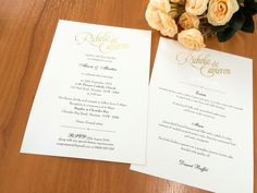 A very special invitation and matching menu card - custom gold foiling of the bride and groom's names makes this gorgeous stationery unique to them. #fineinvitations #weddinginvitationssydney #weddingstationery #traditionalweddinginvitations #classicstationery #sydneyweddings