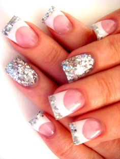 Elegant Nail Art Designs - The beauty of your nails can be incomparable if they are maintained healthy and stylish. Boost their beauty with the help of elegant nail art designs as there are a myriad of designs available to inspire you! Silver French Manicure, French Nails Glitter, Silver Glitter Nails, Glitter Nail Art, Fancy Nails, Love Nails, How To Do Nails, Sparkly Nails, White Glitter