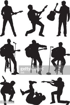 Arte vectorial : Men playing guitar and singing. Siluetas de músicos.