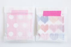 valentines, wrapped in glasine envelopes sealed with Japanese masking tape. CUTE!!