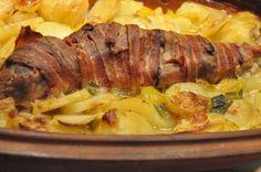 Mørbrad i baconsvøb og flødekartofler i Römertopf