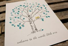Small Baby Guestbook Fingerprint Elm tree for 3065 by bleudetoi, $72.00
