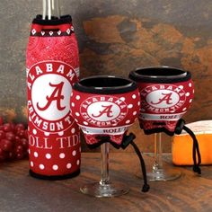 Alabama Crimson Tide Wine Bottle & Glasses 3-Piece Woozie Set