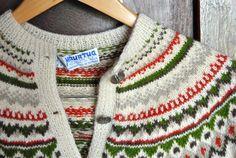 Vintage Beige Norwegian Cardigan by WornRaw on Etsy