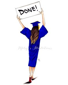 graduation drawing DONE by Melsys on Etsy illustration Graduation Images, Graduation Decorations, Graduation Gifts, Graduation Scrapbook, Graduation Ideas, Graduation Drawing, Girly M, Jamel, Congratulations Graduate
