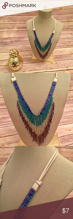 FINAL  Vintage Beaded Tribal Necklace/Choker This is a beautiful vintage beaded necklace, that can also be worn as a choker. It has leather strips that tie together. There aren't any beads missing, but the leather shows age. Prices $10 and below are firm. Bundle 2+ of my items and save 20%! I do not trade or hold items. Vintage Jewelry Necklaces
