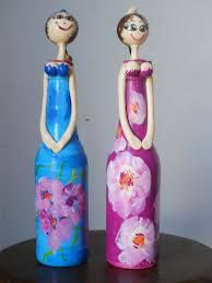 una nueva vida a las botellas Plastic Bottle Crafts, Wine Bottle Crafts, Recycle Plastic Bottles, Painted Wine Bottles, Decorated Bottles, Easy Crafts, Diy And Crafts, Diy Mothers Day Gifts, Guys And Dolls