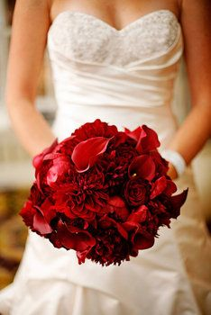 Wedding, Flowers, Bouquet, Red, Rose, Lily, Calla, Dahlia this may be my favorite for my bouquet...what do you all think?