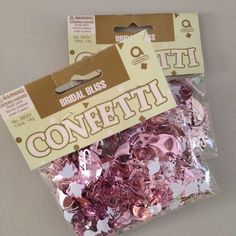 2 Packages Bridal Shower Wedding Confetti Shiny Amscan Dove Pink Umbrella Heart