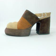 WAW Vintage 90s Platform shoes, 3 color brown leather sandals, high heel platform suede shoes, retro 70s shoes, block heel slingback shoes by etsyYNB on Etsy