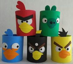 super ideas angry bird crafts for kids Tin Can Crafts, Bird Crafts, Easy Crafts, Diy And Crafts, Arts And Crafts, Cumpleaños Angry Birds, Festa Angry Birds, Toilet Roll Craft, Toilet Paper Roll Crafts