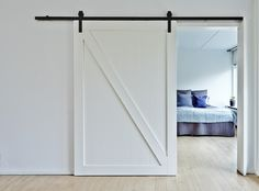 Sliding door with black brackets