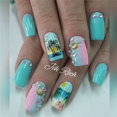 Want some ideas for wedding nail polish designs? This article is a collection of our favorite nail polish designs for your special day. Beach Nail Art, Beach Nail Designs, Nail Polish Designs, Nail Art Designs, Cute Nails, Pretty Nails, Nailart, Sea Nails, Vacation Nails