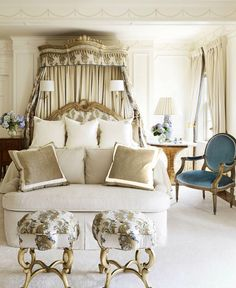 I swear I pin and save every single French bedroom with a bed cornice or canopy! Enjoy this beautiful bedroom by Suzanne Kasler! Master Bedroom Design, Dream Bedroom, Home Bedroom, Bedroom Decor, Bedroom Ideas, Bedroom Designs, Ivory Bedroom, Bed Designs, Girls Bedroom