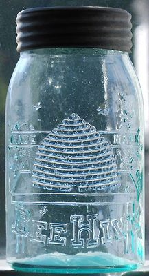 Found on mapleleafauctions.com   (via Pin by Susan Ayer on MASON JARS | Pinterest) Crock, Bees, Mason Jars, Tin, Auction, Pewter, Crockpot, Sheet Metal, Mason Jar
