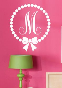 Wall Decal-Monogram Polka Dot with Bow-Personalized-Custom-Initial- Girls Room Decor-Vinyl Wall Decor by landbgraphics on Etsy
