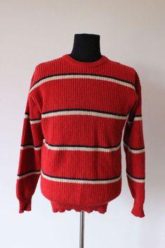 MENS JUMPER knitwear knitted knit VINTAGE trendy BOYFRIEND hipster WOOL red sz L