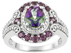 1.65ct Oval Mystic (R) Green Topaz With .72ctw Round Umba River Rhodolite (Tm)  Sterling Silver Ring