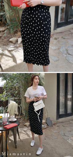 Slim Polka Dot Skirt