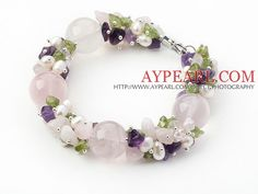 Pink Series Assorted Amethyst and Rose Quartz and Peridot Bracelet is now for sale in aypearl.com.