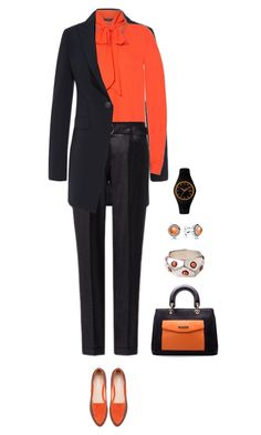 Office outfit: Black - Orange by downtownblues on Polyvore