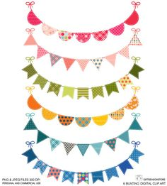 Image of an original illustration done in digital graphic drawing.    You will receive    6 Bunting (13 Wide)  PNG and JPEG in Zip files    PNG files has a transparent background and perfect to use as graphics in most programs.    After purchasing a digital file, you'll see a link to the Downloads page    You can use these images personally or incorporated into artwork you sell such as notebook cover, scrapbook, greeting card, note sheet whatever you want.    **Watermark does not appear on…