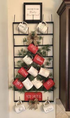 Coffee Mug Wall Rack, Coffee Mug Display, Mug Rack, Coffee Nook, Vintage Farmhouse, Christmas Kitchen, Christmas Mugs, All Things Christmas