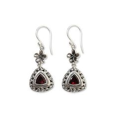 NOVICA Hand Made Garnet and 925 Sterling Silver Flower Earrings ($36) ❤ liked on Polyvore featuring jewelry, earrings, clothing & accessories, dangle, garnet, sterling silver garnet earrings, flower jewellery, garnet dangle earrings, crown earrings and sterling silver dangle earrings