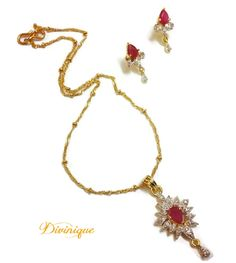 Ruby Ad Pendent Set With Free Chain